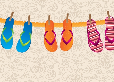 flip flops hanging over vintage background vector illustration Vector