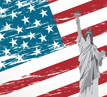 Statue of Liberty on an American flag vector illustration Vector