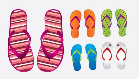 flops: different styles and colors of flip flops over white background Illustration