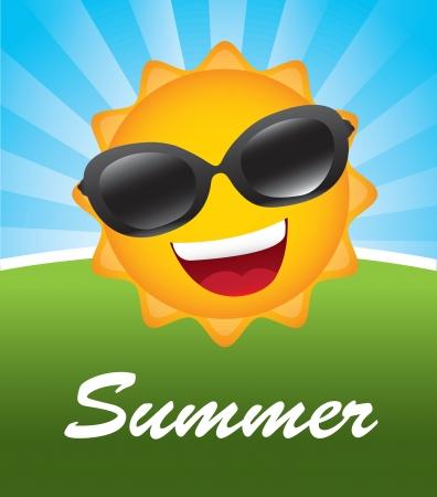 soleil rigolo: Grand soleil sur fond illustration vectorielle paysage Illustration