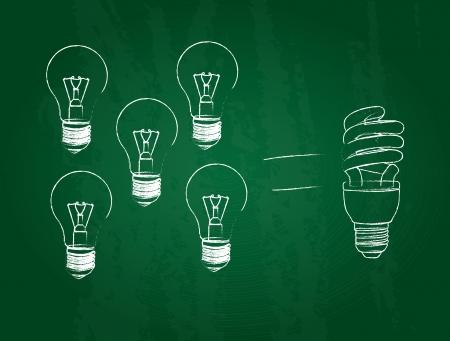 consommation: comparaison des ampoules de consommation sur fond ardoise Illustration