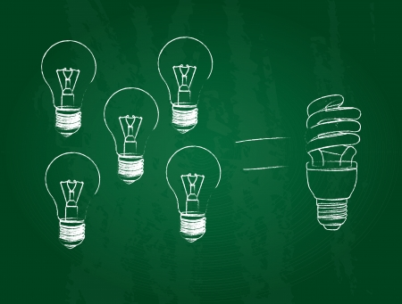 comparison of consumption bulbs over chalkboard background