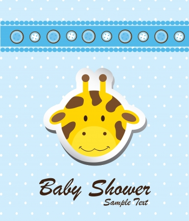 Baby shower card with a giraffe vector illustration Vector