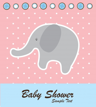 Baby shower card with a elephant vector illustration Vector