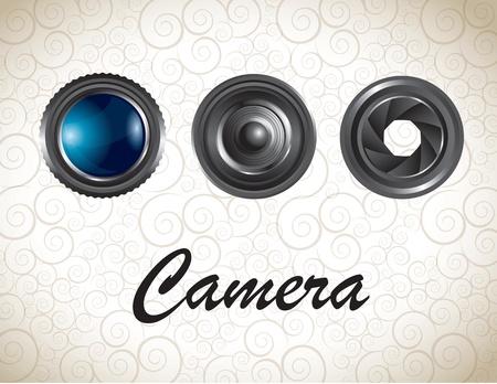 multiple image: Lens of camera over vintage background vector illustration Illustration