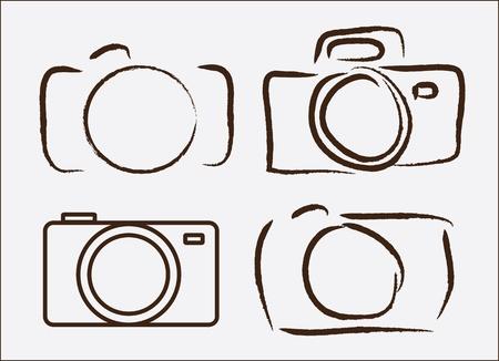 exposición: c�mara fotogr�fica dibujado a mano alzada sobre wite ilustraci�n vectorial de fondo