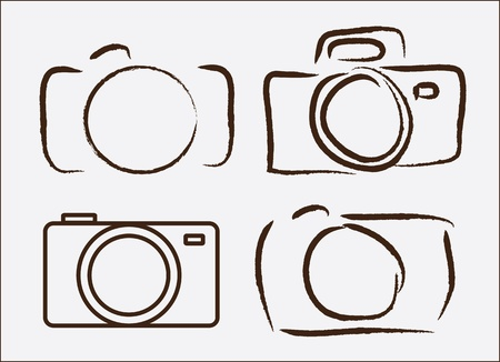 focus on shadow: photographic camera drawn freehand over wite background vector illustration
