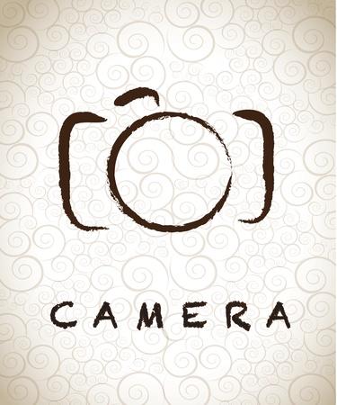sparare: macchina fotografica disegnata a mano libera su sfondo vintage illustrazione vettoriale Vettoriali