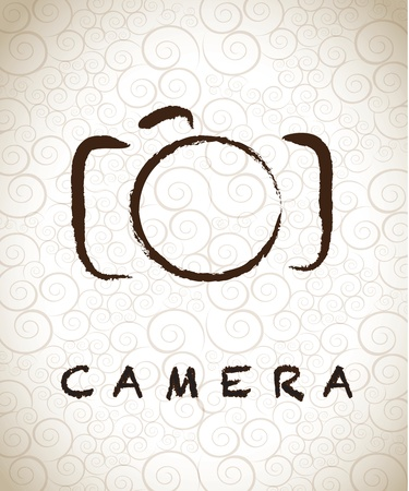 photo camera: photographic camera drawn freehand over vintage background vector illustration