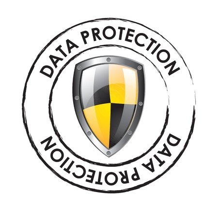 internet security: Data protection seal over white background vector illustration