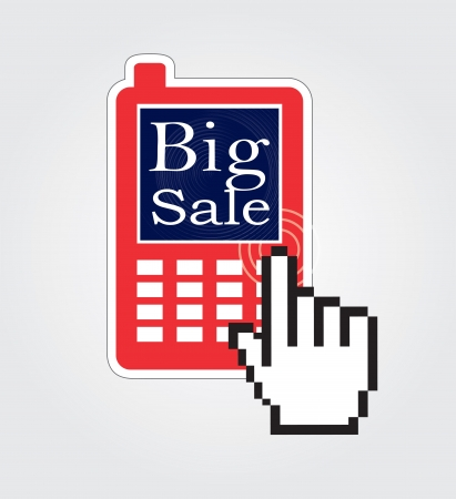 Big sale in the cellphone over white background vector illustration Stock Vector - 18445808