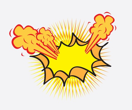 cartoom: caricature of an explosion over white background vector illustration