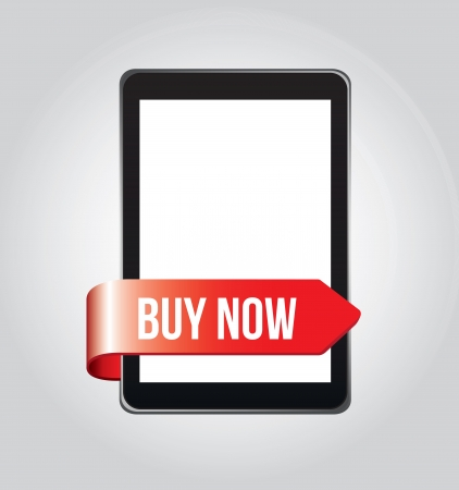Buy now in the cellphone over gray background vector illustration Vector