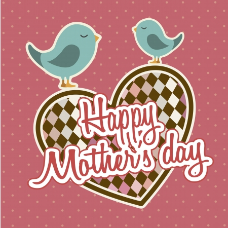 happy mothers day card with birds. illustration Stock Vector - 18555040