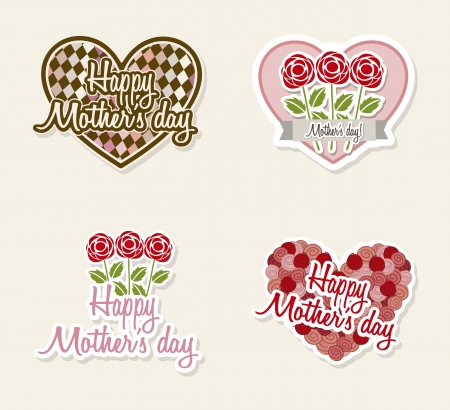 happy mothers labels with flowers and hearts. illustration Stock Vector - 18555429