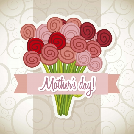 mama: happy mothers day card with roses. illustration