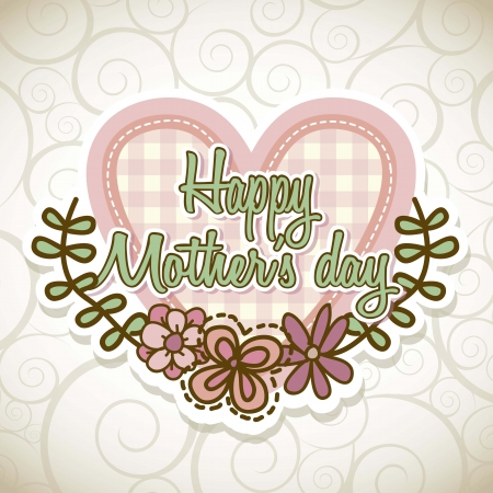 mama: happy mothers day card with flowers. illustration