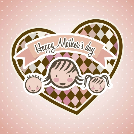 happy mothers day card with cartoons. vector illustration Stock Vector - 18555401