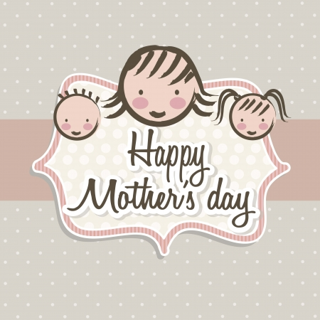 happy mothers day card with cartoons. illustration Stock Vector - 18555328