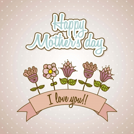 happy mothers day card with flowers. vector illustration Stock Vector - 18555430