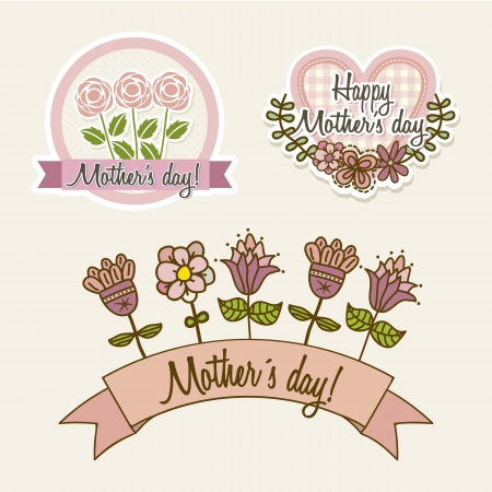 happy mothers labels with flowers and hearts. illustration Stock Vector - 18555560