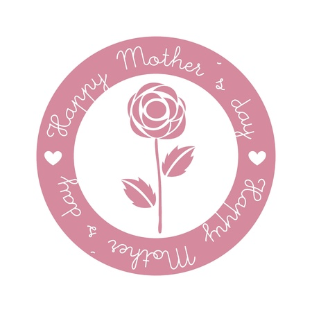 happy mothers day seal over isolated. illustration