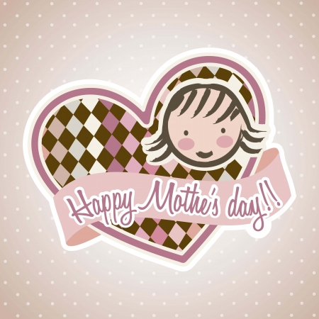 happy mothers day card with mom. illustration Stock Vector - 18555335