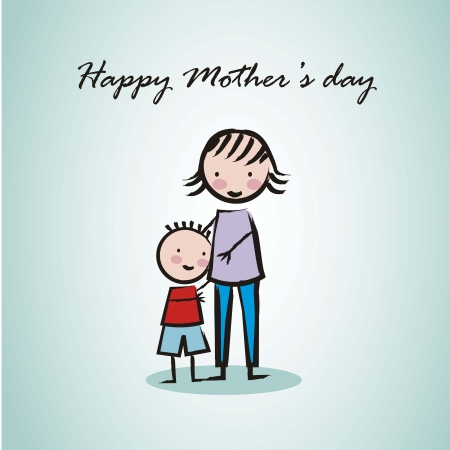 happy mothers day card with cartoons. illustration Vector