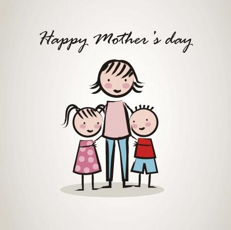 madre e hijo: feliz tarjeta del d�a de madres con dibujos animados. ilustraci�n vectorial
