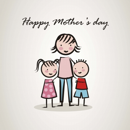 mom son: happy mothers day card with cartoons. vector illustration