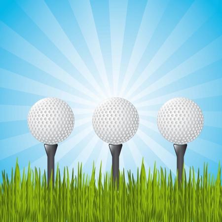 golf balls over landscape with grass. illustration Vector