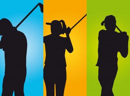 практика: трех игроков в гольф на цветной фон. иллюстрация