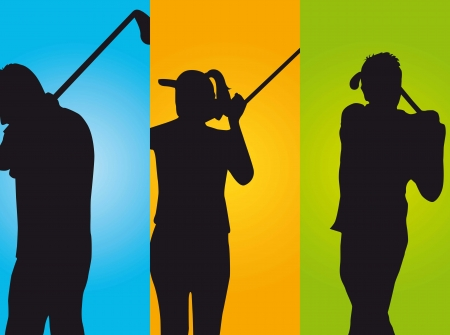 three golfers over colorful  background. illustration Vector