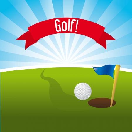 golf course: golf illustration over landscape background. vector illustration