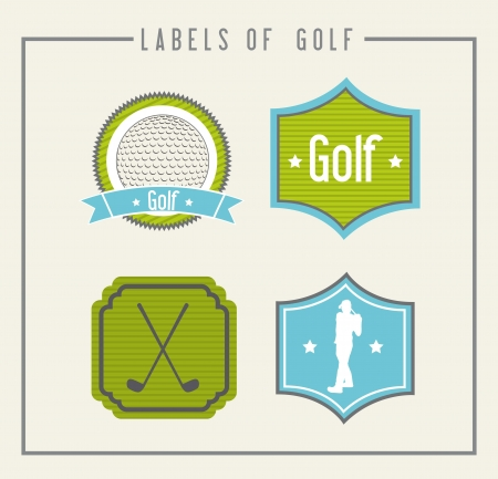 golf labels over beige background. illustration Vector