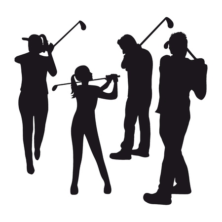three golfers over white  background. illustration Vector