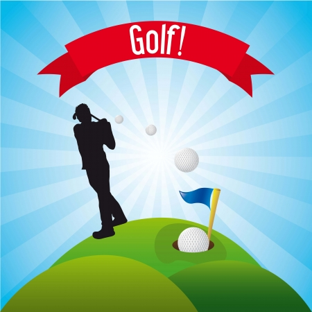 man golfer over landscape background, golf. illustration Vector