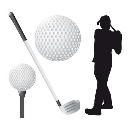 golf elements over white background. illustration Vector