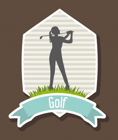 woman golfer over brow background, golf. illustration Vector
