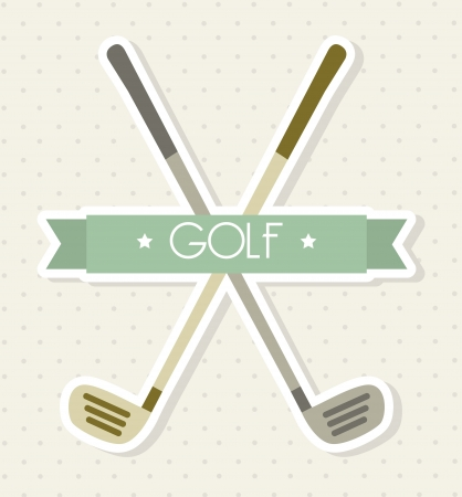 golf club: golf clubs over beige background. vector illutration