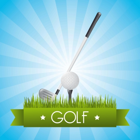 golf illustration over blue background.  Ilustrace