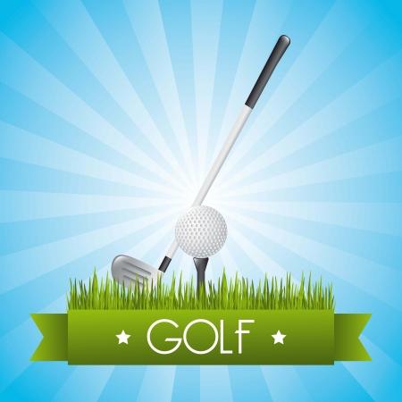golf illustration over blue background.  Vector