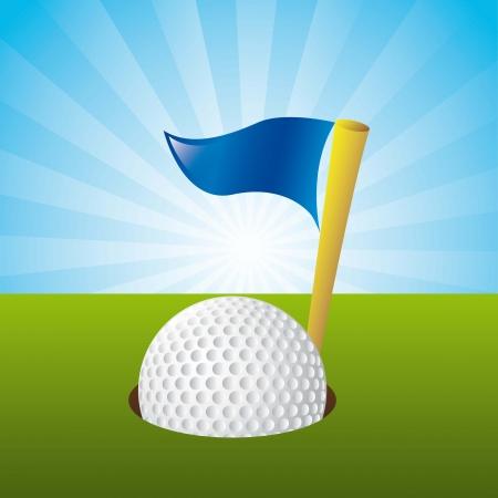 golf ball over landscape background. illustration Vector