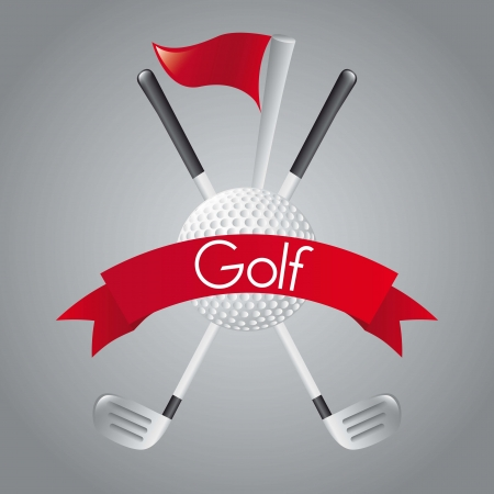 golf elements over gray background. illustration Vector