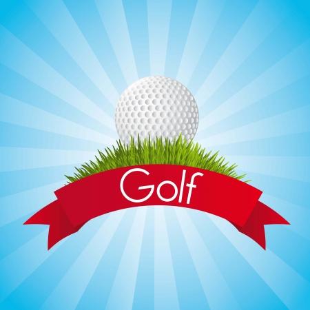 golf ball over blue background. illustration