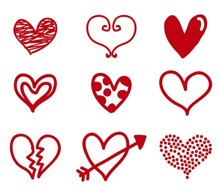 beloved: hearts isolated over white background. illlutration