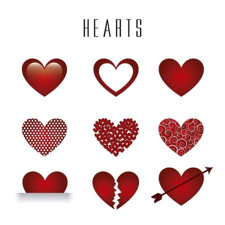 broken love: hearts isolated over white background. illustration