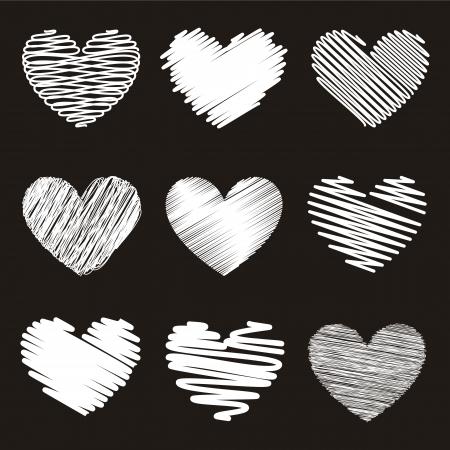 beloved: hearts over black background. illustration
