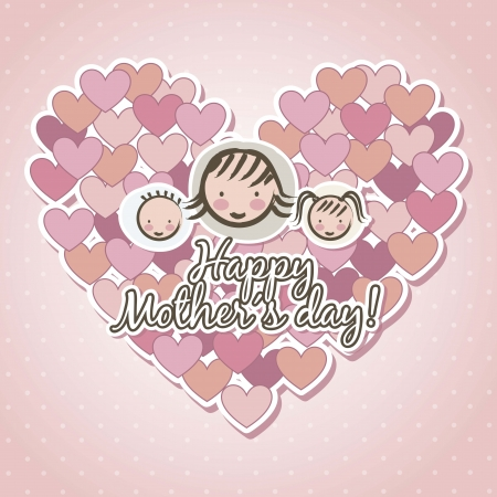 happy mothers day card over pink background. illustration Stock Vector - 18555545