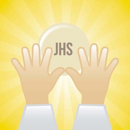 santa cena: jesus cristo icono sobre fondo amarillo. ilustraci�n Vectores